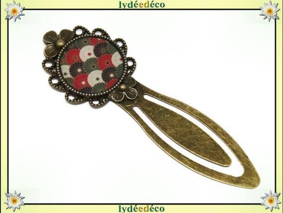Bookmarks resin retro vintage fan Japan red black white green bronze diameter 20mm