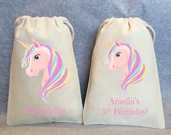 "12-  Unicorn Party, Unicorn Birthday, unicorn party favors, Unicorn bags, Unicorn favor bags, Unicorn party favor bags, Unicorn bag, 5""x8"""