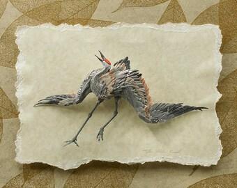 Blank Card - 'Rhythms' - Sandhill Crane Paper Sculpture, Print