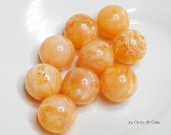 1 x Pearl 14mm resin orange moiré