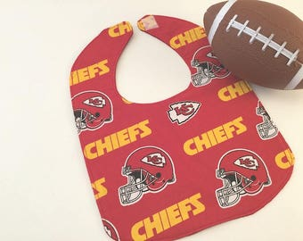 Kansas City Bib, Chiefs Fabric, Kansas City Chiefs,  Chiefs Baby Bib,  Red Bib, Chiefs Logos