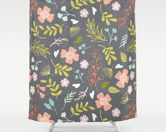 peach and gray shower curtain. Floral Shower Curtain  Gray Flower Nature Garden Aqua Coral SHOWER CURTAIN Petals Custom