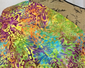 Batik Fabric--Hand Dyed Fabric--Indonesian Fabric--Multicolored Butterfly Wings & Flowers--Yellow Turquoise--Batik Fabric by the HALF YARD