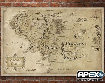 Map Middle Earth - Lord of the Rings Hobbit Silmarillion - Stunning Canvas Print! - Supersize Canvas! Rivendell2