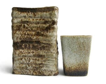 Vintage fat lava vase Vest Keramiek Van Woerden, set of 2, instant collection Dutch Pottery