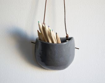 Small Grey Ceramic Pocket Wall Hanging