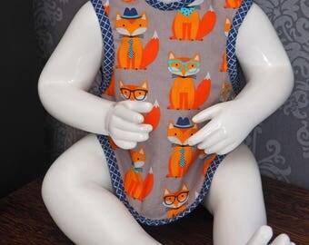 FOX PRINT Apron Style Baby Bib.