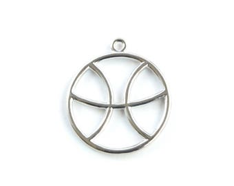 Large Pisces Charm, Silver Pisces Zodiac Pendant, Round Horoscope Charm (206S)