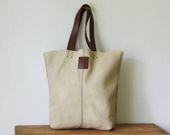 Vintage LUCKY Cream and Tan Leather Tote Shopper Bag/ Unlined Leather Lucky Brand Shoulder Tote Bag/ Soft Leather Shopper Shoulder Bag