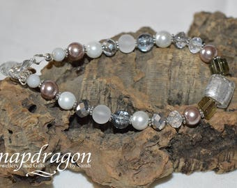 Ice Queen' bracelet, frosted, faceted glass bead bracelet