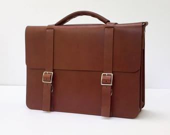 """Custom 15"""" Messenger Bag / Briefcase, Full-Grain Leather"""