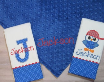 Personalized Lovey Blanket and Burp Cloth Gift Set