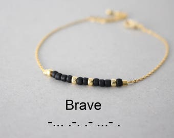Morse Code Brave Bracelet, Morse code Bracelet, Morse code beaded bracelet, inspiration bracelet, secret message jewelry