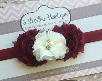 Maroon and Cream Headband..Baby Girl Headband..Baby Headband..Newborn Headband.Headband..Headband..Maroon and Cream.Baby..Baby Girl