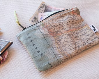 Wanderlust Travel Wallet, Women and Men Zipper Card Holder, Small Change Purse, World Map Wallet for Her and Him, Wallets for Woman and Man