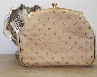 Vintage 1950s Gold Beaded Evening Clutch Wedding Bag