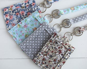 Floral ID Holder, ID Badge Holder, Thin Teacher Lanyard, Graduation Gift