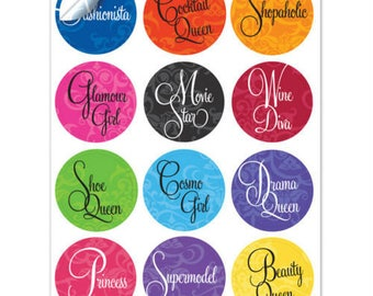 Girl's Night Out Wine Glass Decals, 1 Inch Round Glass Tags, Wine Glass Charms, Hostess Gifts, Party Favors, Glass Not included, 12 Per Pack