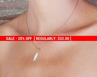 SALE 20% OFF Gold necklace, Feather necklace, unique necklace, leaf necklace, delicate necklace, style, feather pendant - 593