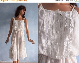 ON SALE 15% Vintage 70s white sheer  dress, cotton gauze spaghetti straps dress/   romantic country boho hippie summer dress/S