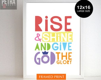 Christian art decor, christian nursery, Rise and Shine and Give God the Glory. Rise and Shine framed print - Christian Home Decor kids room.