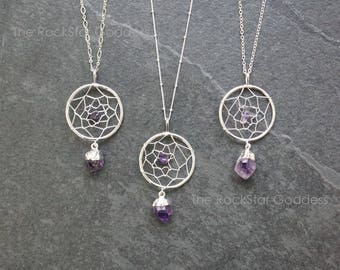Amethyst Necklace / Amethyst Jewelry / Boho Jewelry / February Birthstone / Gemstone Necklace / Dreamcatcher Necklace / Gift for Mom