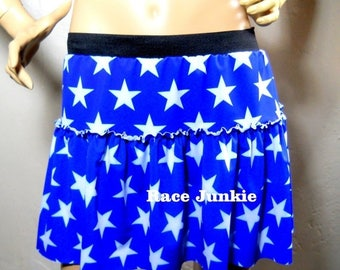 Christmas in July Sale Star Girl Running Skirt Royal Blue with White Stars