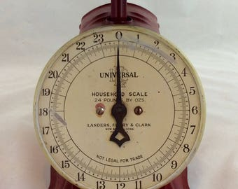 Vintage Red Kitchen Scale, Vintage Universal Scale