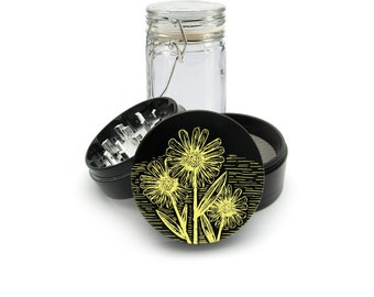Yellow Wild Flowers UV print on the Grinder FREE Glass included! 4 Piece Herb Aluminum Black cnc Grinder 0288 B