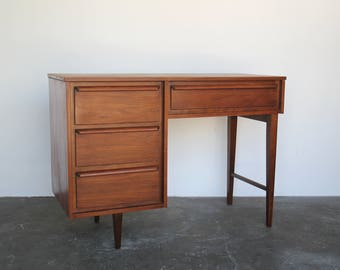 SOLD - Satin Walnut Writing Desk / Mid Century Desk Vintage Small Desk