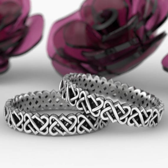 Celtic Wedding Ring Set With Cut-Through Trinity Knot Design in Stering Silver, Made in Your Size CR-1033