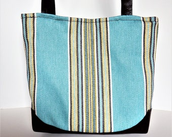 Turquoise blue and brown leather shoulder bag.   Shoulder bag in blue stripe with brown leather, southwest style tote bag.