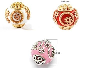 2 Indonesian bead, handmade, 3 colors to choose, 15mm