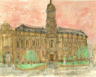 BRADFORD ART PRINT, The Old Building, Bradford Painting, Yorkshire Art, Bradford College, Signed Print, Watercolor Painting, Clare Caulfield