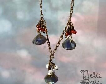 Drops of Jupiter necklace -  FREE shipping! - Unique labradorite, garnet & pearl artisan necklace