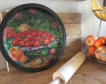 Vintage French Country Tin Serving Tray