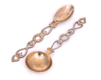 Pair of Brass Love Spoons, Welsh Love Spoons, Brass Spoon Set, Ornamental Pair of Brass Spoons, Wall Hanging, Love Token, Loving Spoons