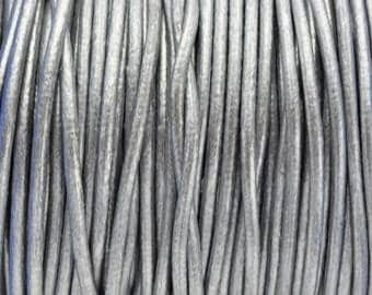 """30% OFF 2MM Round Metallic Silver Leather Cord - Top Quality - 1M/39.4"""""""