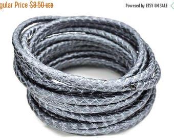 "30% OFF 5mm Round Braided Leather Cord  -   2ft/24"" - Dark Metallic Silver/Gunmetal - Wire Core"