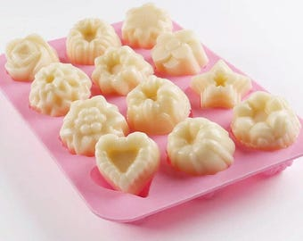 Flexible Silicon Soap Molds Candle Making Molds Candy Chocolate 12 Flower Cavity