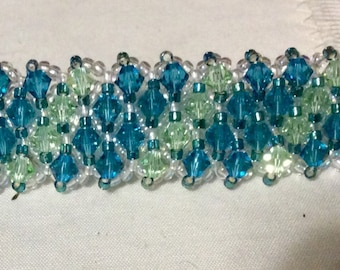 Swarovski Crystal Barrette (Green/teal/lime/peridot crystals)