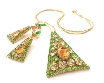 Juliana D&E Demi Parure, Pendant Necklace and Earrings, Green,  Jonquil Rhinestones, Topaz Molded Art Glass, Gold Tone Filigree, Book Piece