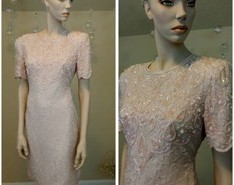 Beautiful Vintage sequins and beads pink dress by Night Vogue
