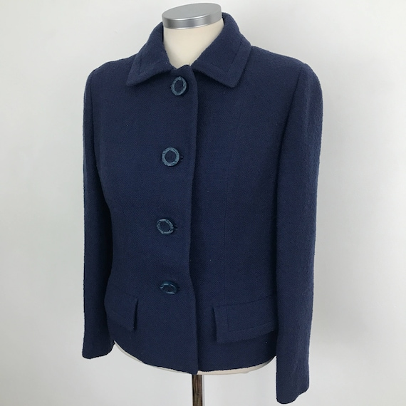 Mod jacket 1960s vintage wool navy blue coat UK 10 tailored suit top scooter girl boucle wool coat 60s Jackie O