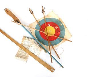 Vintage Bow & Arrow Archery Set - 3 Piece Takedown Bow - Withington Archery Set - Takedown Archery Bow - Take Down Bow - Vintage Archery Toy