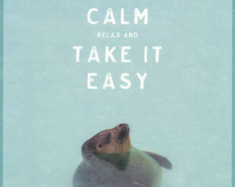 Keep Calm relax and take it easy-PosterCard-Maxi