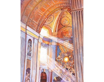 St. Peter's Basilica- Vatican, Rome (Italy).  St. Peter's Basilica art.  Watercolor painting of St. Peters at Vatican City, Rome art