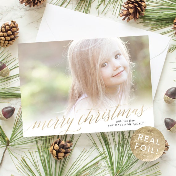 Gold Foil Merry Christmas Card, Holiday Photo Cards with Foil Stamping, Christmas Cards for Kids, Elegant Christmas Cards  | Scripted Name