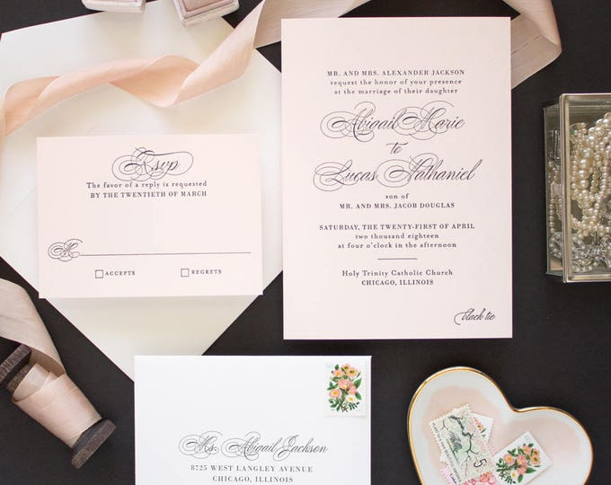 Letterpress Invitations for Classic Weddings, Pink and Black Wedding Invitations, Letterpress Invites on Pink Paper | SAMPLE | Timeless
