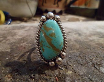 Authentic Navajo,Native American Southwestern sterling silver turquoise double band ring. Size 13.
